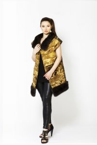 24 kt gold Swakara coat with Bargussin sable applikation