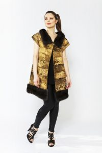 24 carat gold plated Swakara fur coat by Nobline of Switzerland